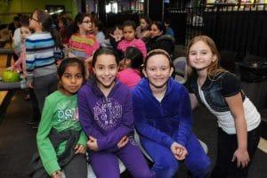 grade school girls at bowling alley