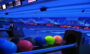 Glowing bowling balls at Rab's Cosmic Bowling