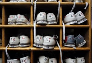 Photo of bowling shoes in cubbies at Rab's Country Lanes